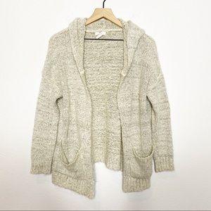 [Q] Cream Boucle Hooded Cozy Cardigan Sweater